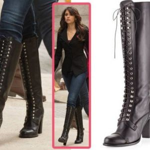 Charles David Knee High Lace Up Black Boots
